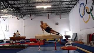 Edward Mesa working hard on pommel horse