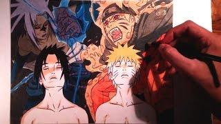 Drawing Naruto vs Sasuke/Dibujo Naruto vs Sasuke (Color)