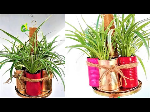 hanging food can planter/recycled tin cans planter/cheap & best planters//ORGANIC GARDEN