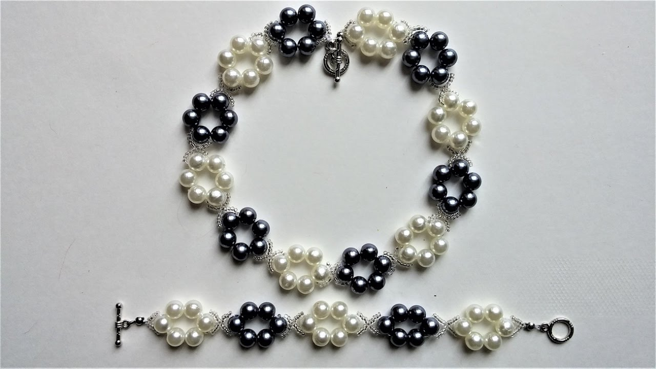 Simple and elegant DIY pearl jewelry set. Beginners project - YouTube