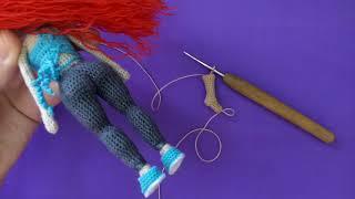 Как связать ноги каркасной куклы крючком Тесс