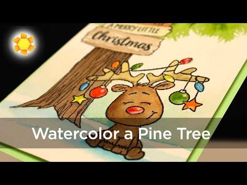Watercolor Christmas Card: Reindeer Under a Pine Tree