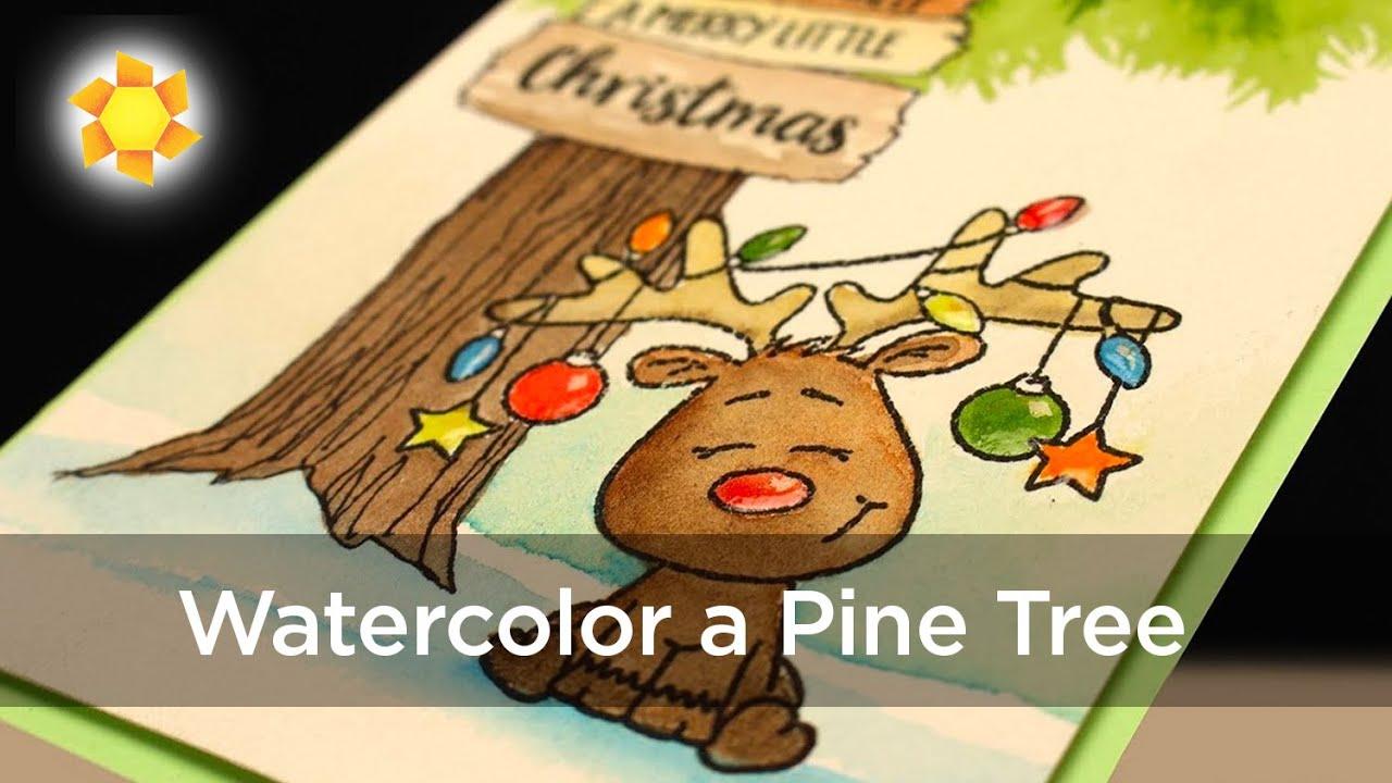Watercolor Christmas Card: Reindeer Under a Pine Tree - YouTube