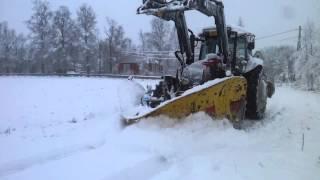 Valtra snow plowing
