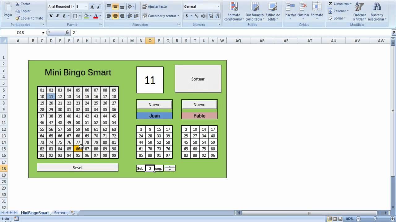 Juego De Bingo Gratis En Excel By Vicente Leon