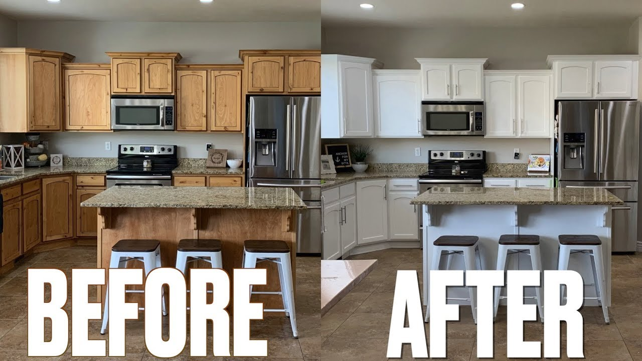 Stunning Kitchen Makeover Before After New Look Kitchen Cabinets Updating Kitchen On A Budget Youtube