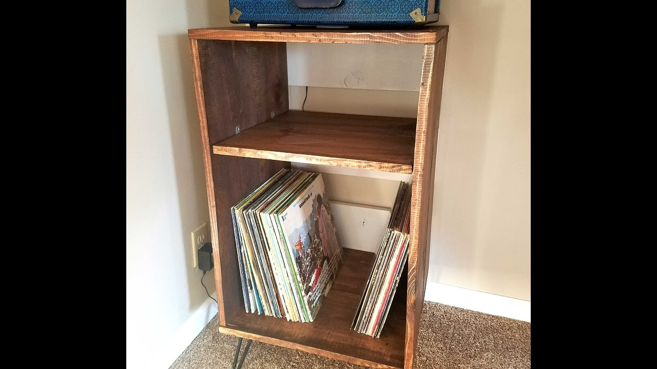 DIY -Wood Record Player Stand - YouTube