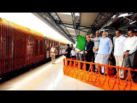 PM Narendera Modi flags off the first train from Katra, Jammu
