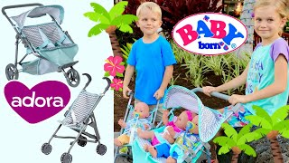 🍼Baby Born Twins Morning Routine With Skye & Caden! 🌴Outing In Adora Zig Zag Twin Jogger Stroller!