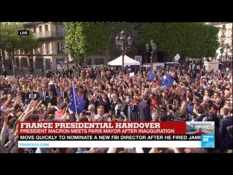 France: Emmanuel Macron arrives at Paris Town Hall, greets French voters