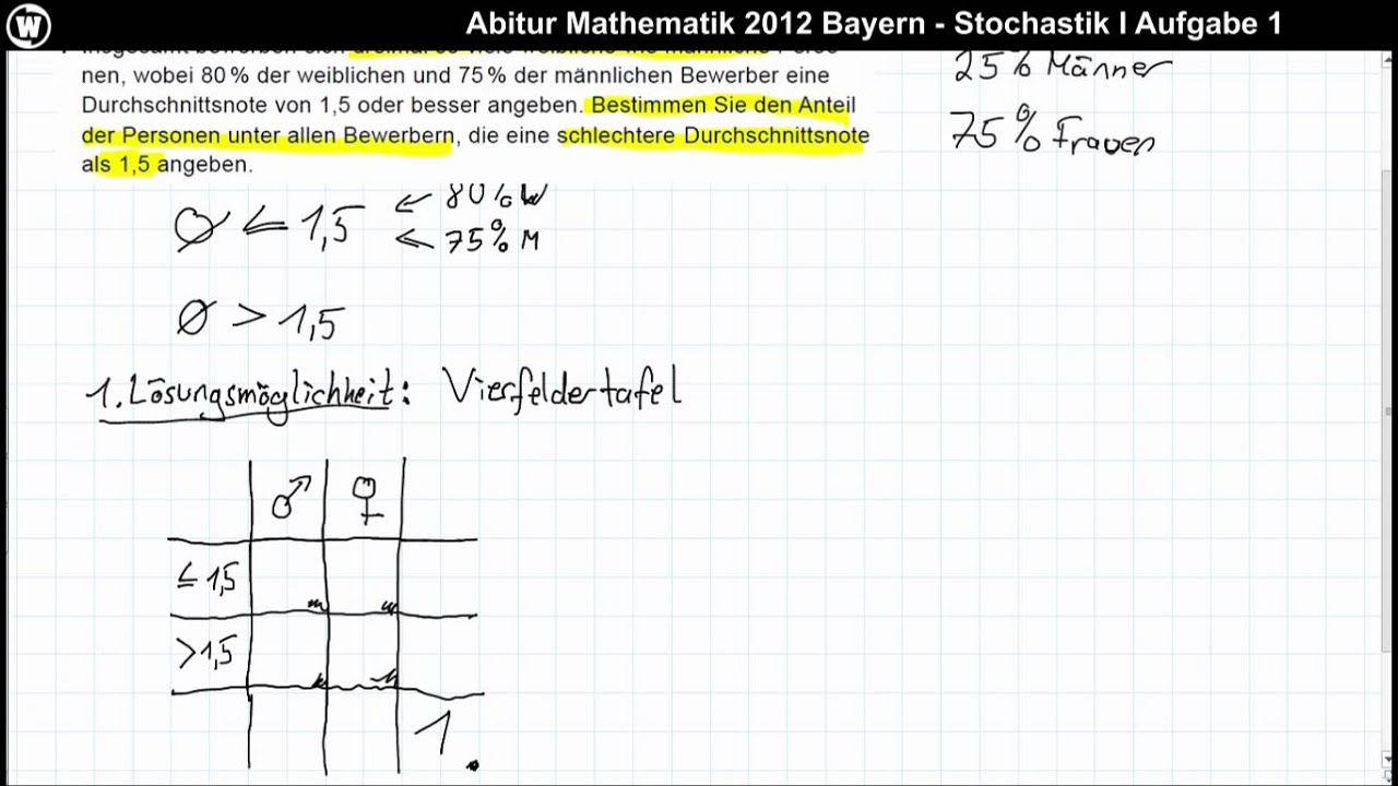 abitur mathematik 2012 bayern stochastik i aufgabe 1 youtube. Black Bedroom Furniture Sets. Home Design Ideas