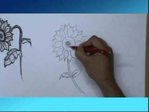 Come Si Disegna Un Girasole Fiore Youtube