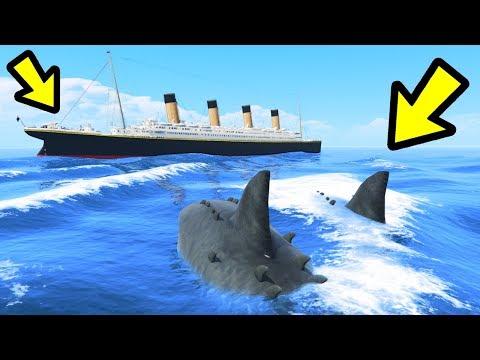 GTA 5 - The MEGALODON Shark vs. Titanic!