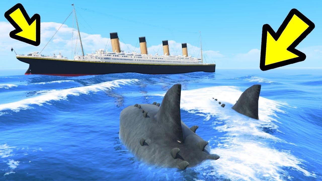 Gta 5 The Megalodon Shark Vs Titanic Youtube