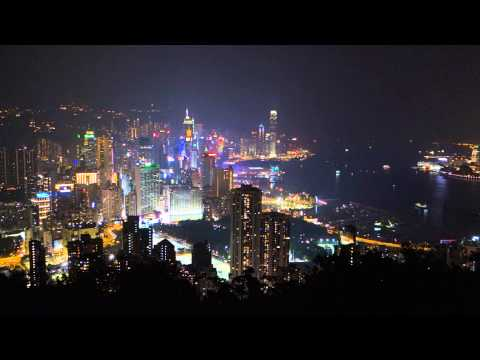 Night time view from Braemer Hill on Hong Kong Island