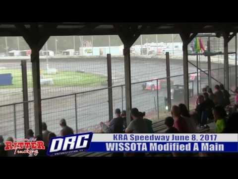 KRA Speedway 6/8/17 WISSOTA Modified 3 wide Finish