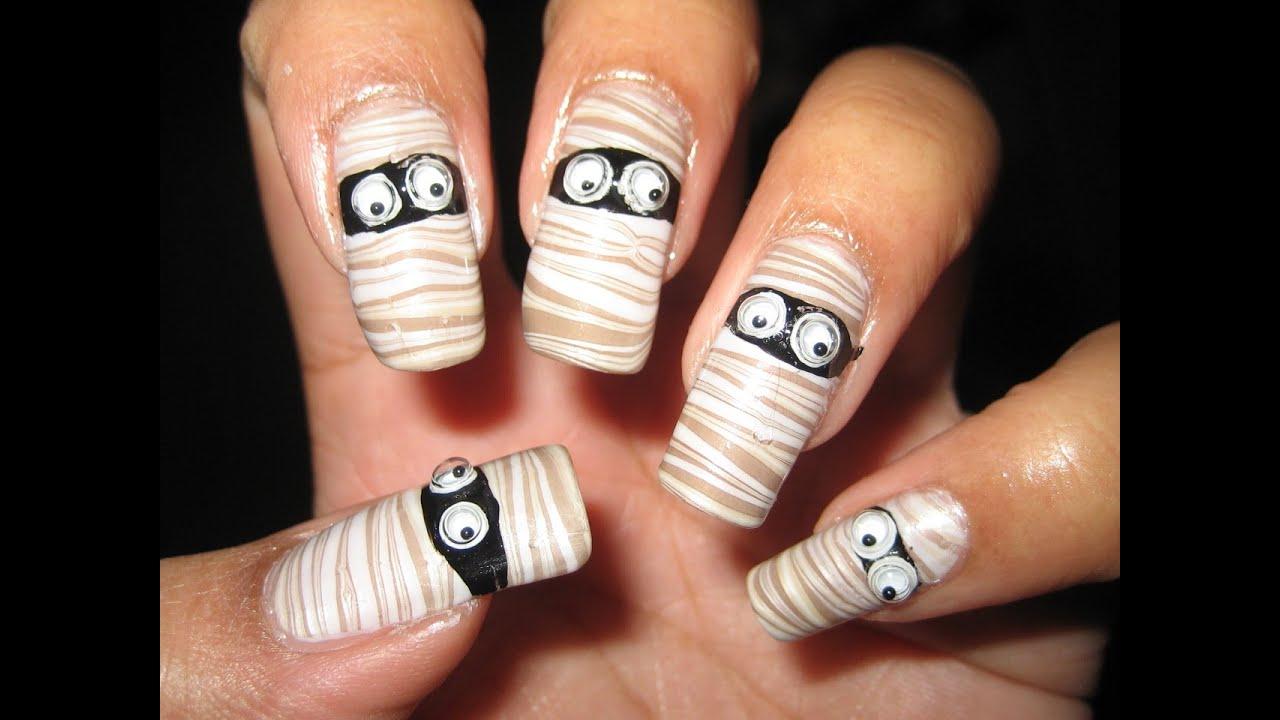 Halloween Mummy Water Marble Nail Art Tutorial YouTube | water nail art
