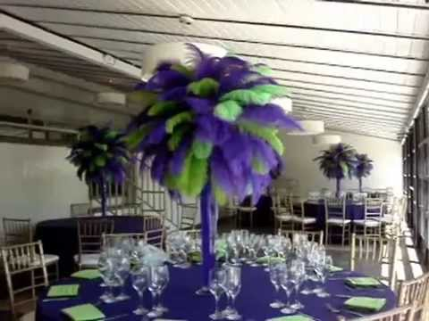Purple Lime Green Ostrich Feather Centerpiece Rentals By