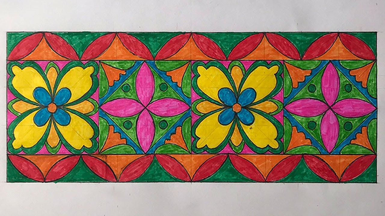 Vẽ trang trí đường diềm | Vẽ trang trí hình vuông | Vẽ hoa văn trang trí | Tổng quát những kiến thức về hinh ve duong diem chi tiết nhất
