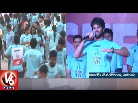 Vijay Devarakonda And PV Sindhu Participates In Hyderabad Police SHE Teams 10K Run | V6 News