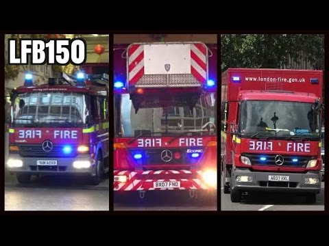 Fire trucks responding compilation - London Fire Brigade 150 Years