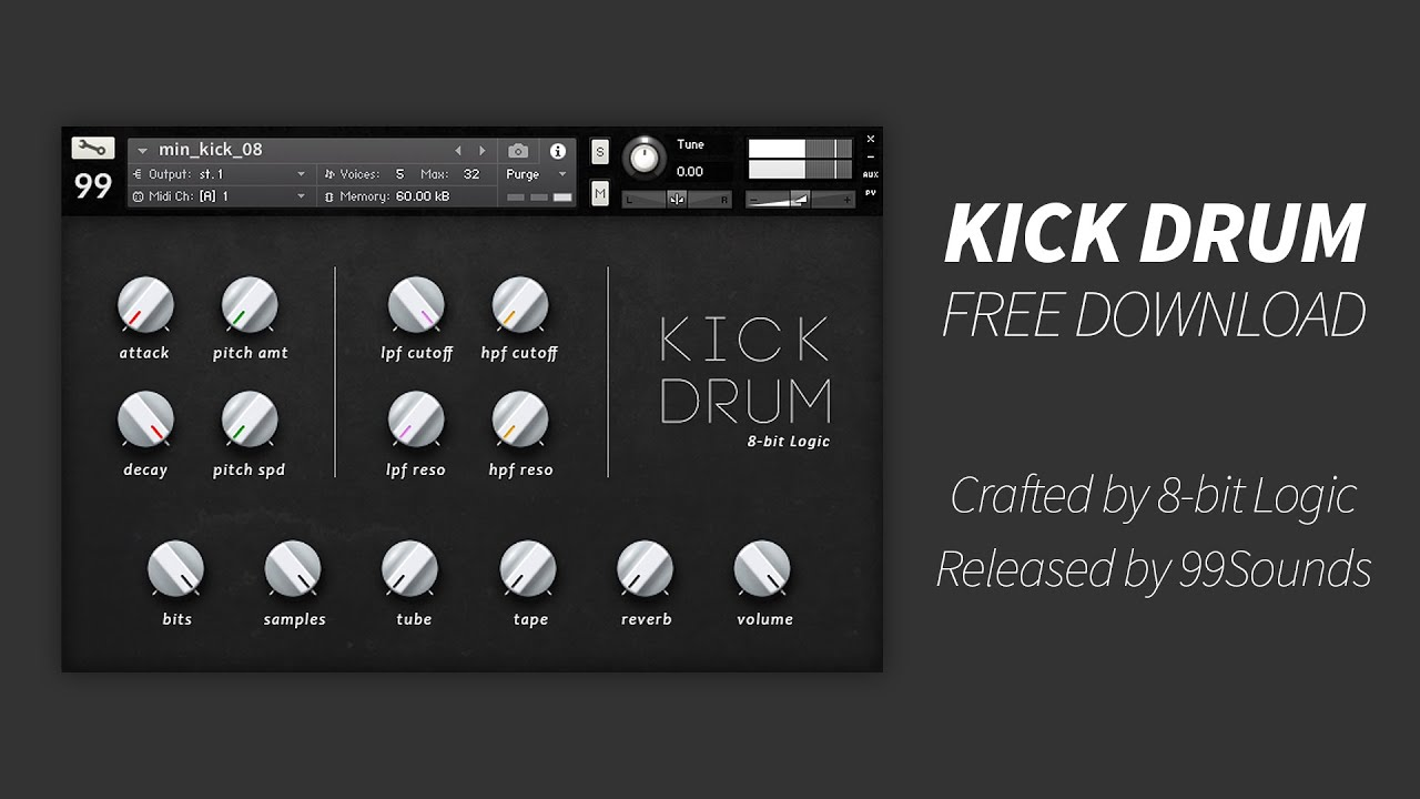 Free Kick Drum Samples (WAV) - 99Sounds