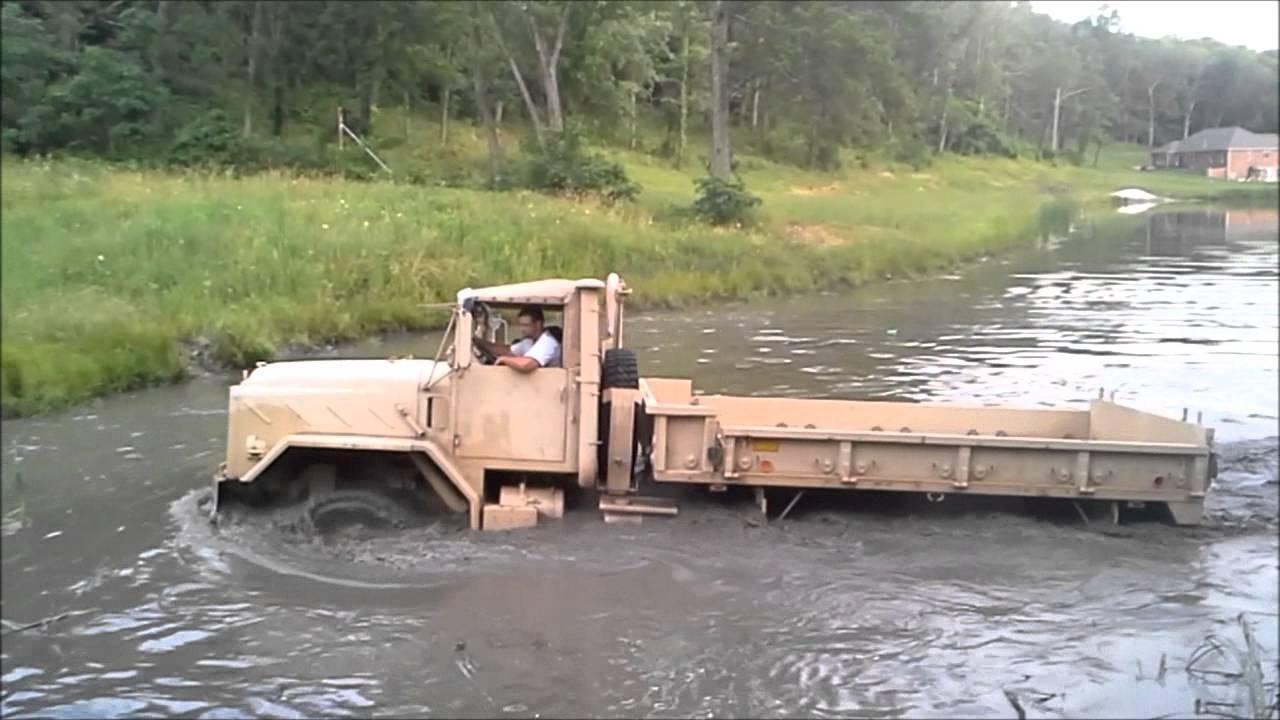 5 Ton Military Truck Driving Through Pond Youtube