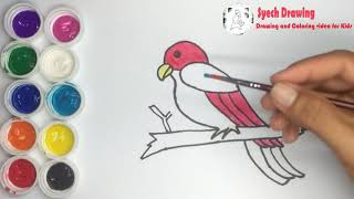 How to Draw and Coloring a Parrot for Kids