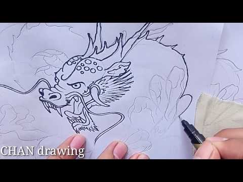Drawing a dragon - dragon black drawing