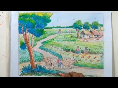 How to Draw Scenery Of Landscape Step By Step/Draw Landscape With Bullock Car ….