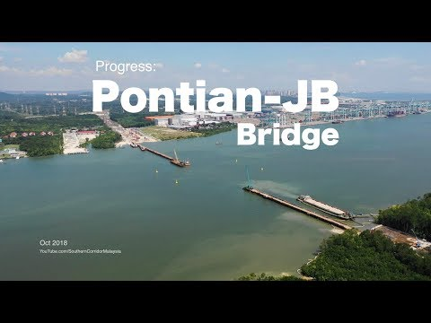 Progress of Pontian to Johor Bahru Bridge (4K) - 15 Oct 2018