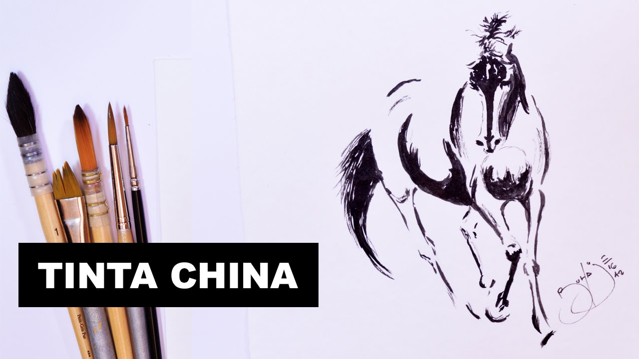 Como Dibujar Y Pintar Con Tinta China Un Caballo Youtube