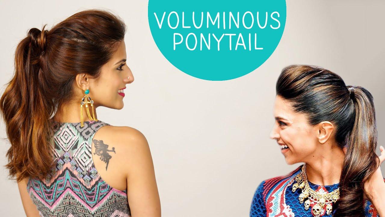 Volumized Ponytail Hairstyle For Medium To Long Hair | Deepika Padukone |  Celebrity Hairstyles   YouTube