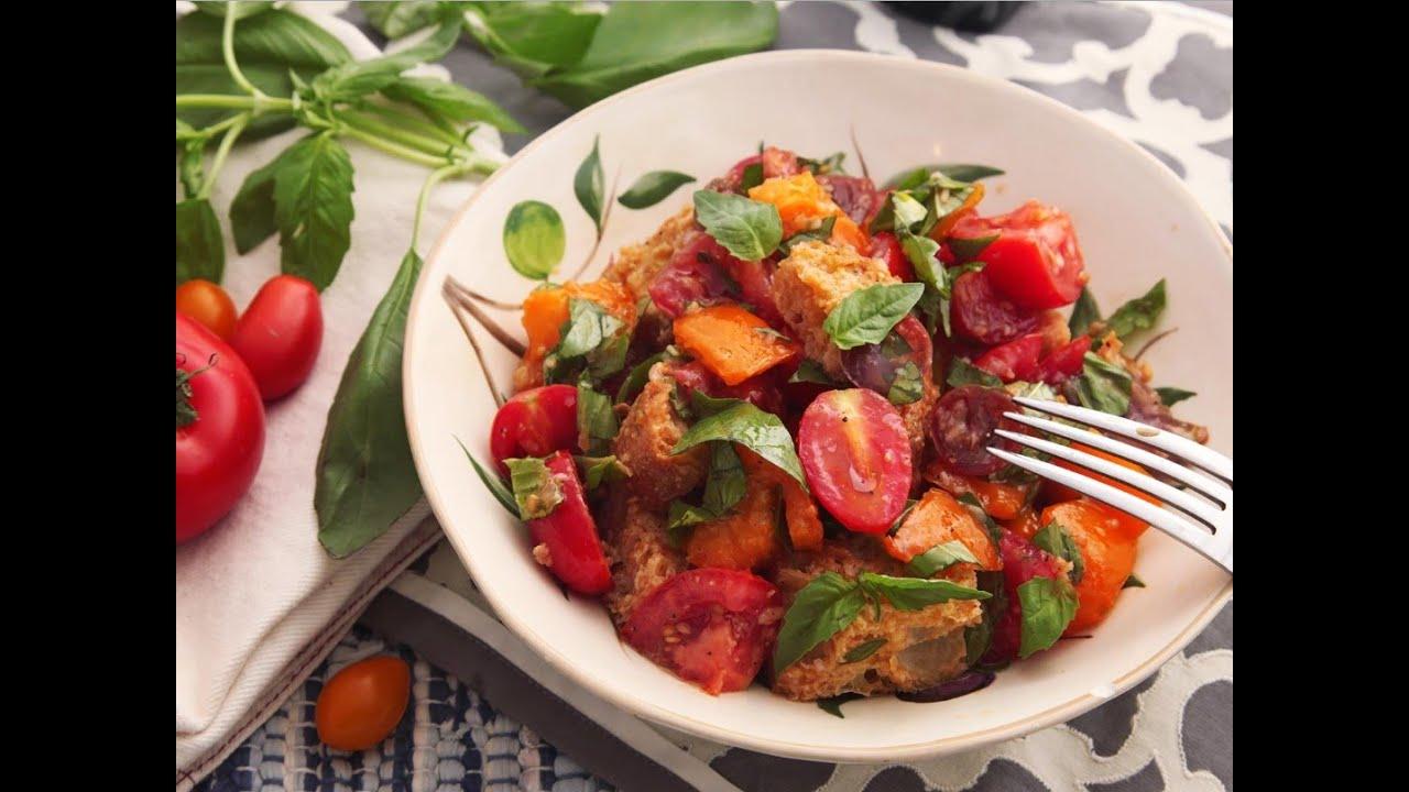 recipe of classic panzanella salad tuscan style tomato and bread