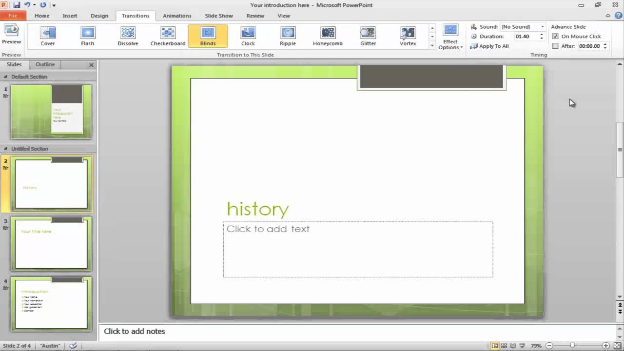 How to Apply Slide Transitions in a PowerPoint Presentation