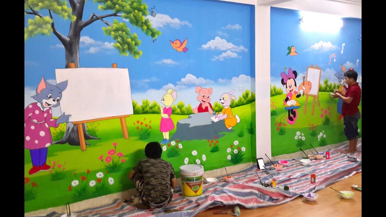 Các bước vẽ tranh tường mầm non, nhận vẽ tranh tường mầm non toàn quốc