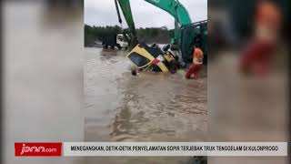 Menegangkan, Detik Detik Penyelamatan Sopir Terjebak Truk Tenggelam Di Kulonprogo - JPNN.COM