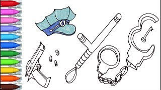 How to draw a police cap, handcuffs, a gun and a baton. Drawing for children
