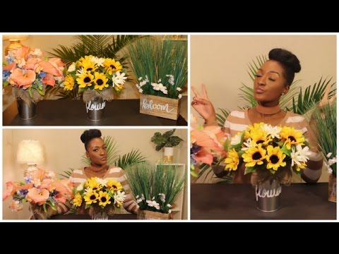 DIY Dollar Tree: 3 Spring Floral Arrangements 🌻🌼🌺 Mother's day | Wedding | Home | Chanelle Novosey