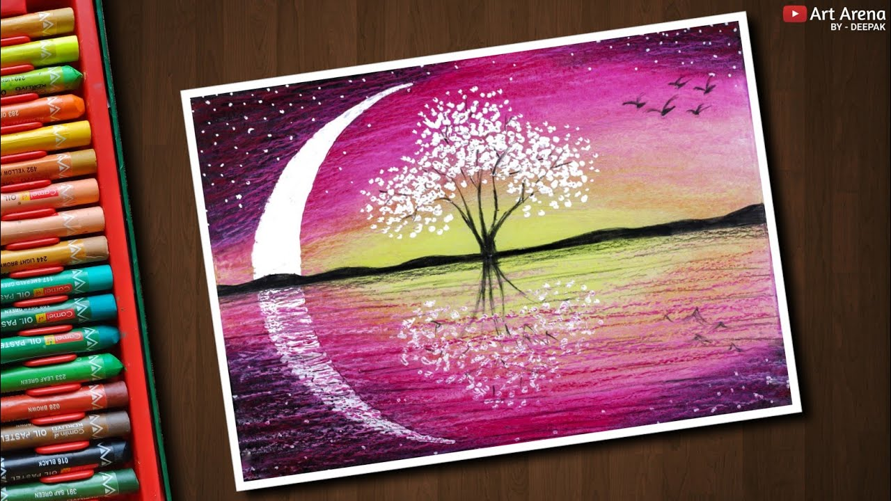 Magical Tree Landscape drawing with Oil Pastels - step by ...