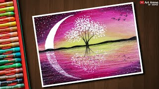 Magical Tree Landscape drawing with Oil Pastels - step by step