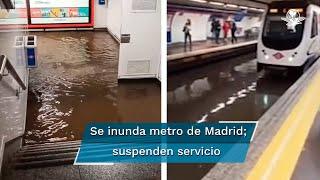 """Usuarios de redes sociales compartieron fotos y videos de cómo lucían las estaciones. No faltaron los memes de ciudadanos señalando que el Metro de Madrid era el primer Metro """"anfibio"""""""