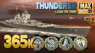 Линкор Thunderer: Большая игра на карте Land of Fire - World of Warships