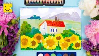 Как нарисовать пейзаж - урок рисования для детей 7-9 лет. Дети рисуют пейзаж поэтапно