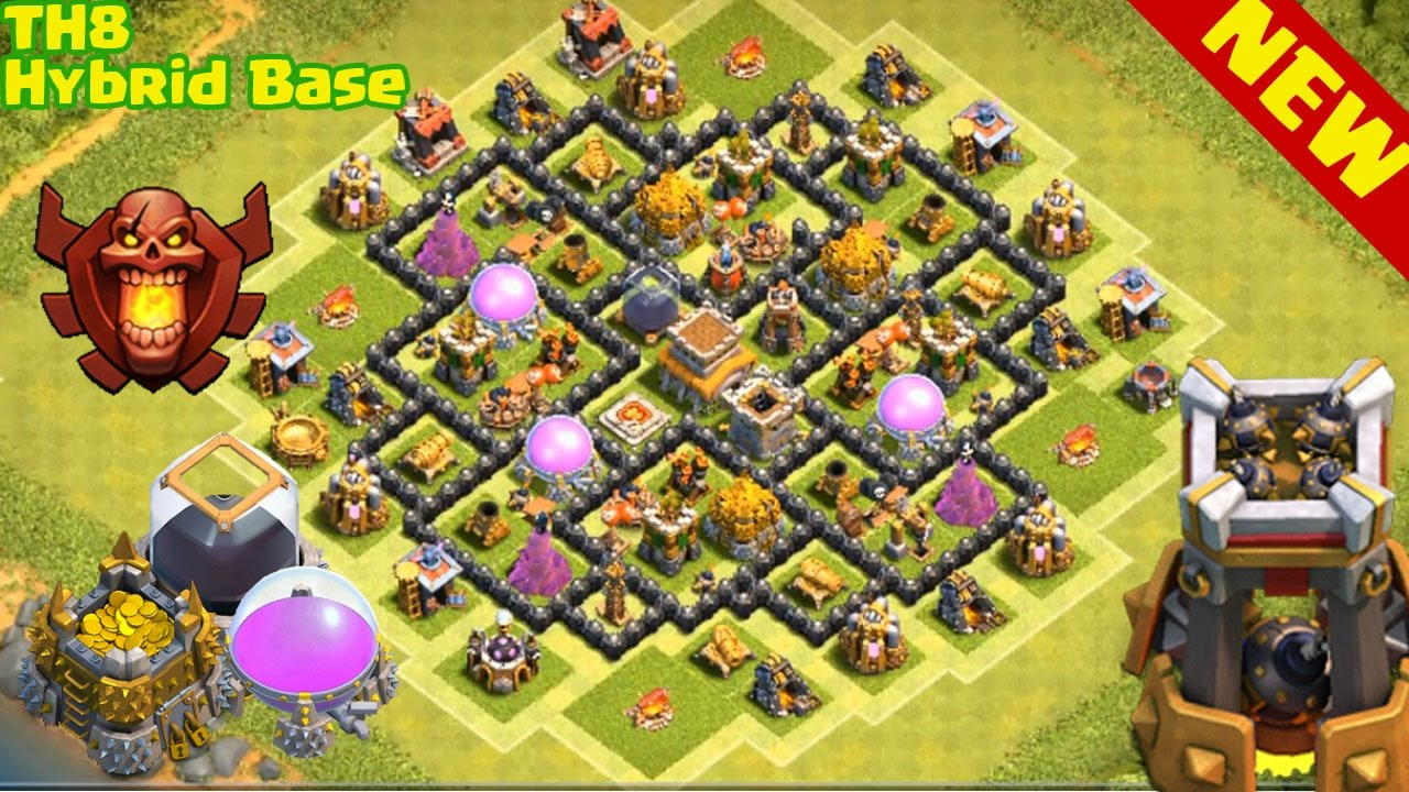 Clash Of Clans Th Best Hybrid Base Trophy Farming Base Town Hall  Base Youtube