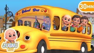 the wheels on the bus | dirty bus in garage | Nursery rhymes & kids songs