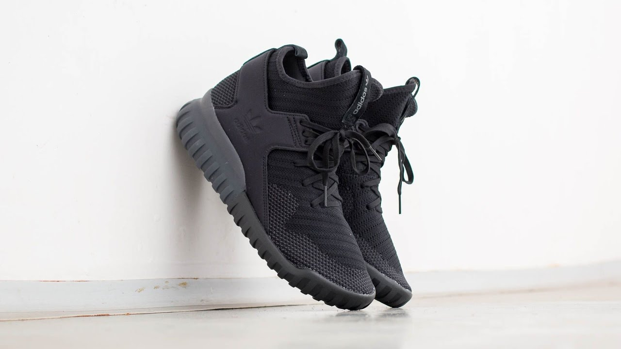 Adidas Tubular X Knit Core Black On Feet