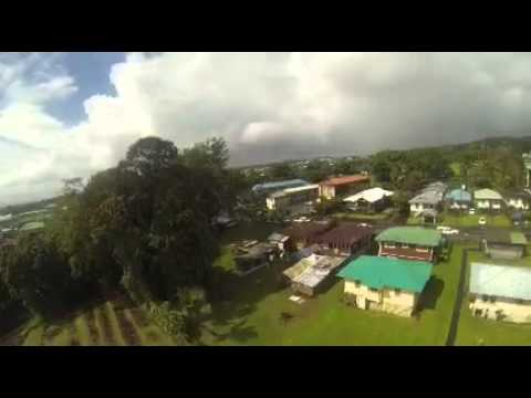 "Drone aerial view of Hilo Hawaii ""big island"""