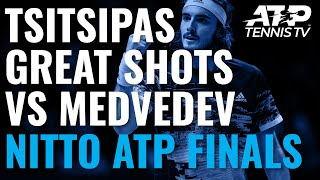 Stefanos Tsitsipas Great Shots & Rallies vs Medvedev | Nitto ATP Finals 2019