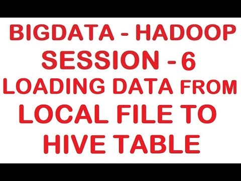 Loading data from Local File to HIVE table - Big data - Hadoop Tutorial -  Session 6